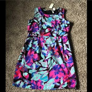 Teal and pink floral dress